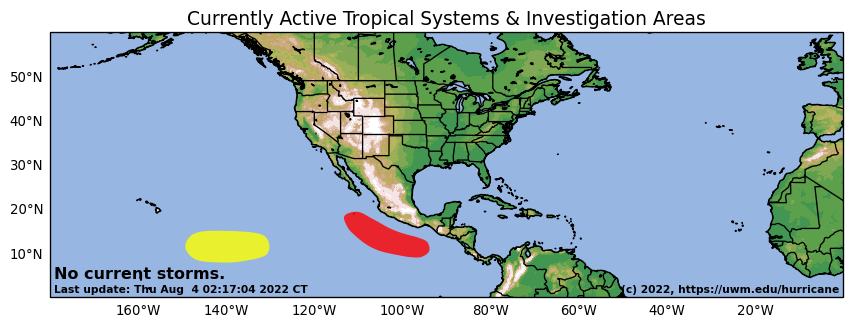 Active Tropical Cyclones and Investigation Areas